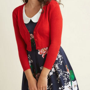 Modcloth Red Cropped Cardigan